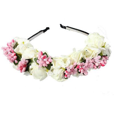 Festival Decor Princess Floral Wreath Headpiece Flower Garland Bride Headband