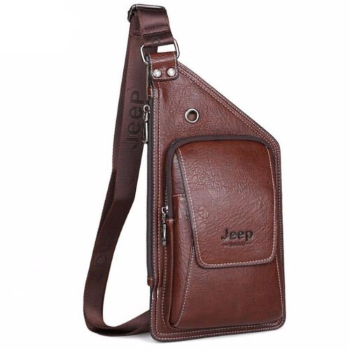 Men Chest Pack Single Shoulder Strap Back Bag Travel Crossbody Vintage Chest Bag