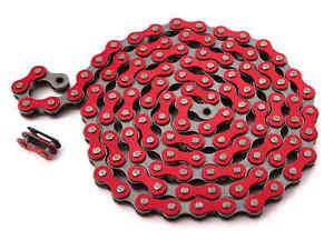 KHE-BMX-Fixie-Chaine-1-2-034-x-1-8-034-Rouge-112-Maillons-Gauche-Seulement-385g-Avec