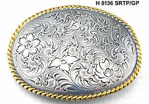 WESTERN COWBOY OVAL ROPE VINTAGE SILVER GOLD PLATED RODEO H 8136 TROPHY BUCKLE