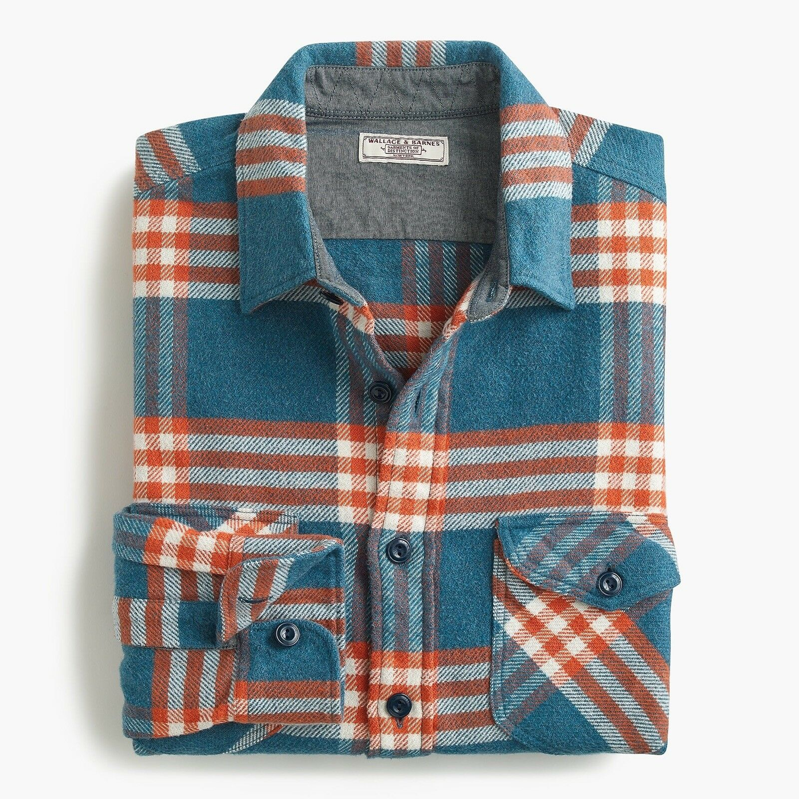 Wallace & Barnes Heavyweight Flannel Shirt in Vista Plaid Sz. Large Courier bluee