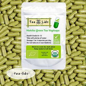 Матча зеленый чай порошок VegiCaps, 90 капсул, 500mg, органические, ПРЕМИУМ-КАЧЕСТВО