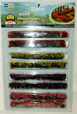JTT SCENERY 95509 BLOSSOM HEDGES HO SCALE RED - PINK - YELLOW - PURPLE  8/PK