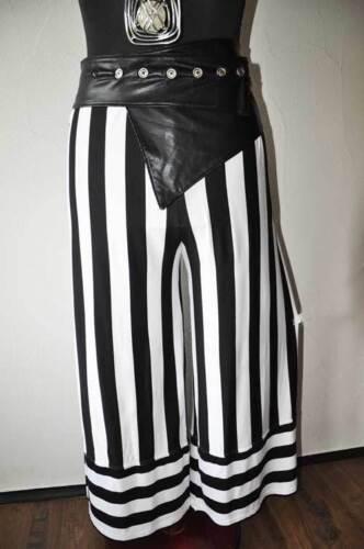 Lagenlook Blockstreifen Jersey Marlenehose mit Ansatz black/&white 44,46,48,50,52