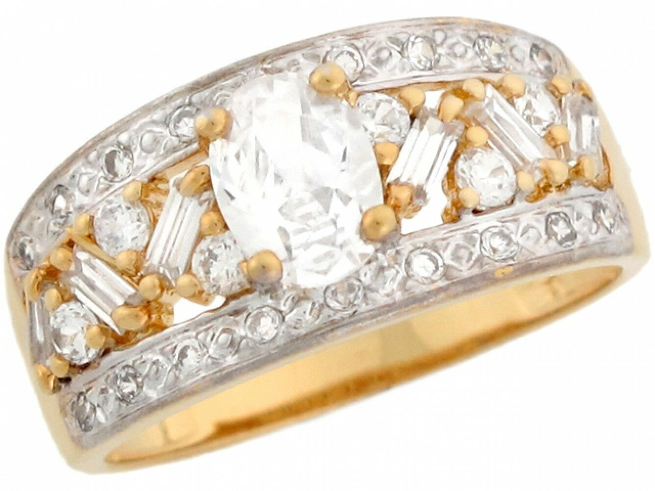 10k or 14k Two Toned Real gold White CZ Fancy Anniversary Ladies Ring
