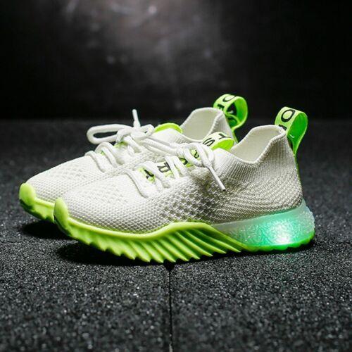 Children Kids Baby Girls Boys Letter Mesh Led Luminous Sport Run Sneakers Shoes