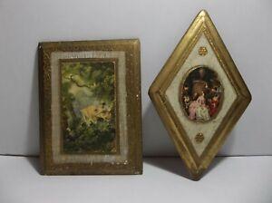 Vintage-Italian-Florentine-TOLEWARE-Wood-Wall-Plaques-Set-Of-2