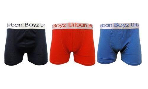 Mens Boxer Shorts Cotton Lycra Underwear Colour URBAN BOYS Waistband Trunk Short
