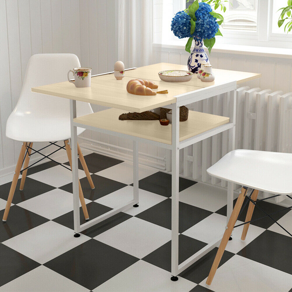 2 Tier Extendable Dining Table For Small Space Folding Console Table Dining Room 738596628109 Ebay