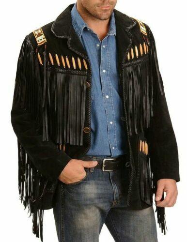 Men/'s Traditional Western Leather Jacket Cowboy coat With Fringe Bone and Beads