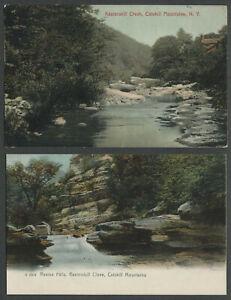 Hunter Palenville NY: Two c.1906-07 Postcards KAATERSKILL CREEK, RAVINE & FALLS