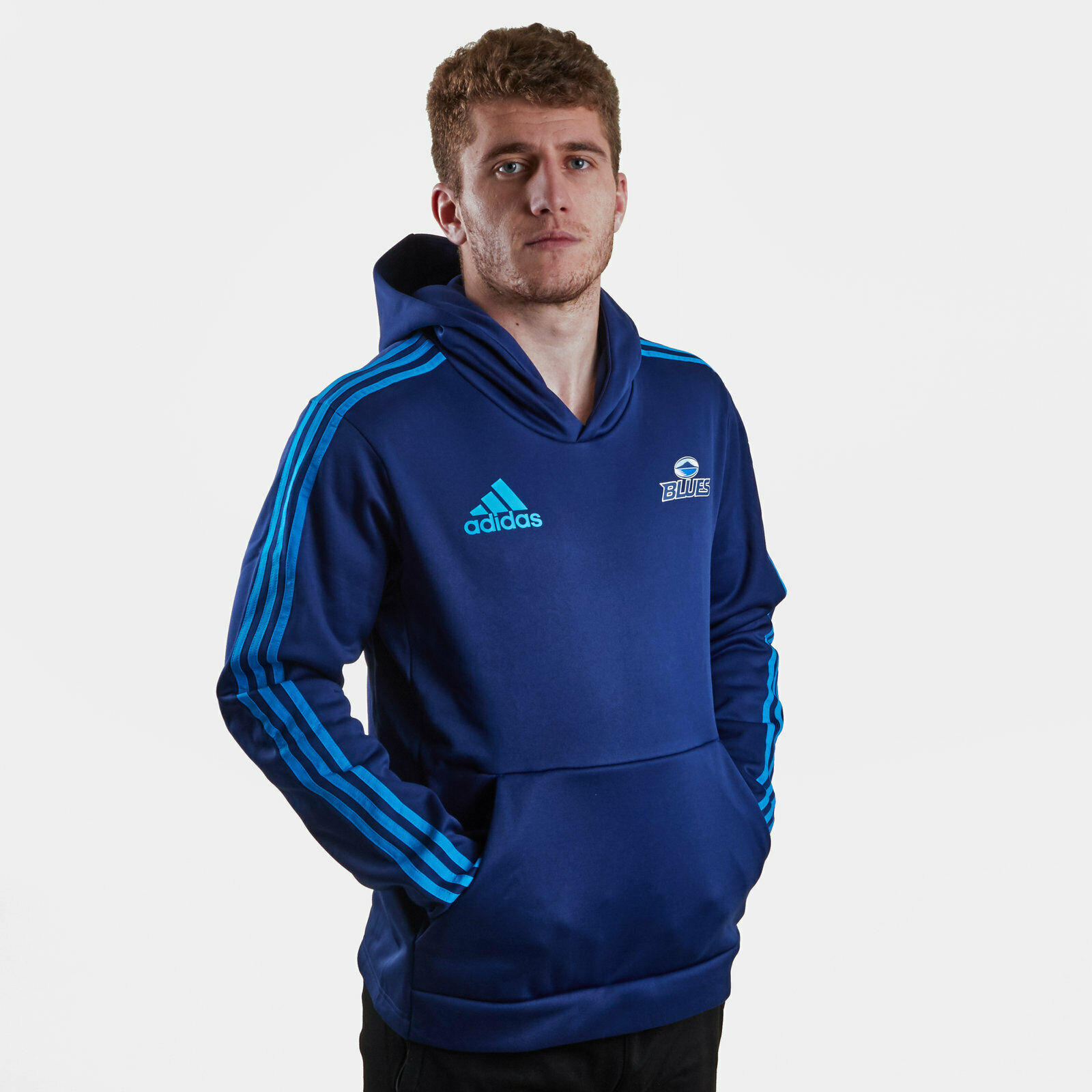 Adidas Mens bluees 2019 Hooded Rugby Sweat Top Sweatshirt Hoodie  bluee