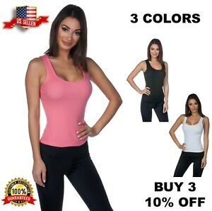 Hering-Junior-High-back-Basic-Ribbed-100-Cotton-Scoop-neck-Casual-Tank-Top