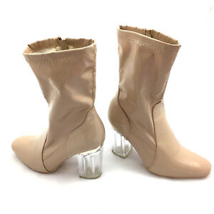 ecdbf6ba7c Pink Blush Over Ankle Bootie Clear Chunky Block Heel PVC Lucite ...