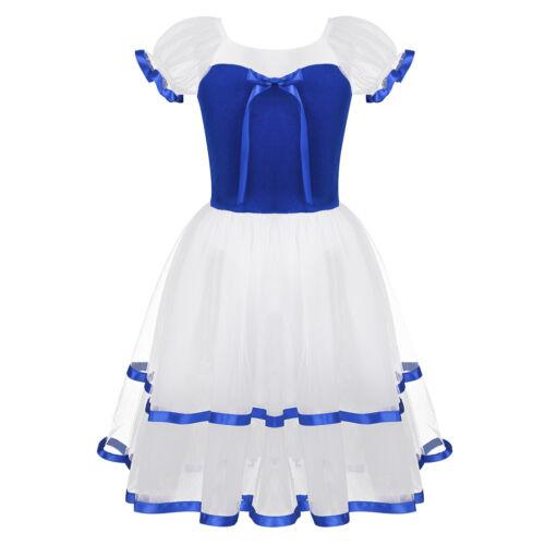 Girls Puff Sleeves Ballet Dance Dress Kids Leotard Tutu Long Skirt Party Costume