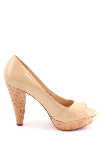 Franco Sarto Zabrina Heel Barley Patent Tan Peep Toe Cork Heel Platform Pump NEW