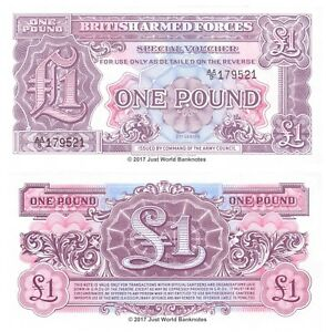 British Armed Forces 1 Pound 1948 2nd Series Banknotes UNC