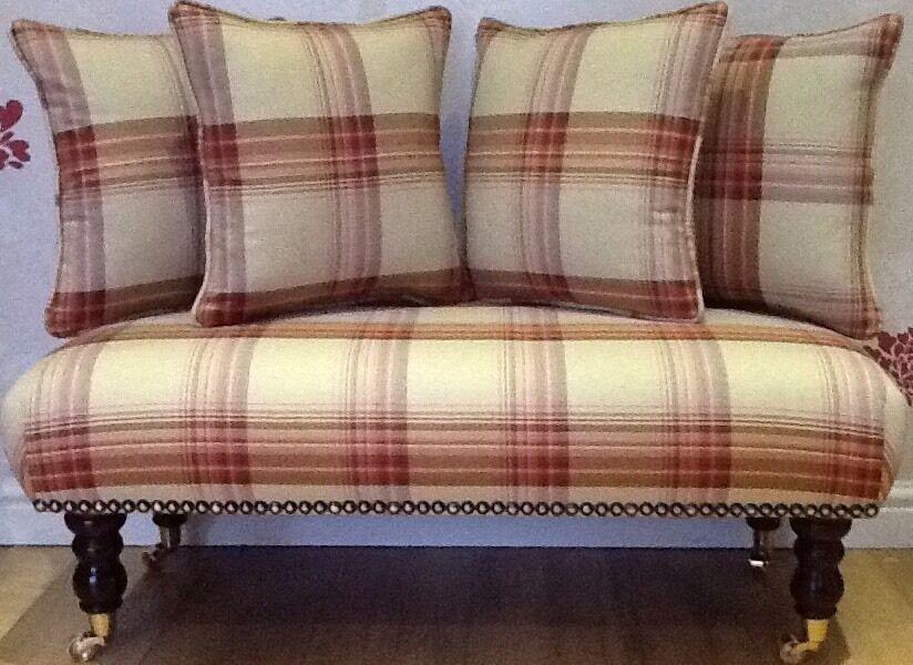 Long Footstool Stool & 4 Cushions Laura Ashley Brodie Raspberry Fabric
