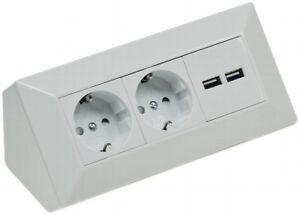 ♥ Eck Steckdosenleiste 2x Steckdose + 2x USB Ecksteckdose Küche ...