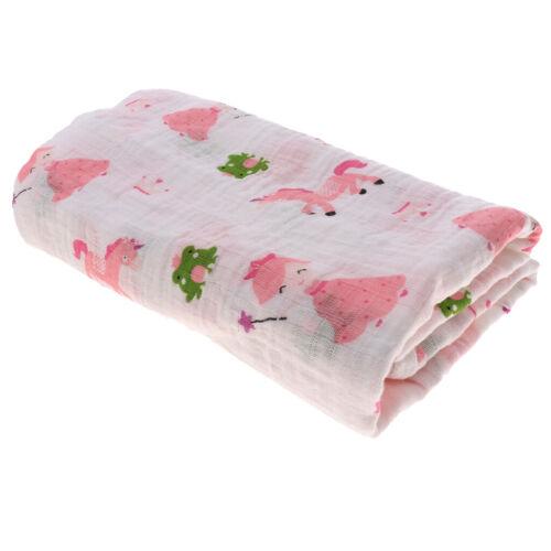 Kids Musselin Wickeln Decke 110cm Baumwoll Swaddle Babypflege Wrap Unicorn