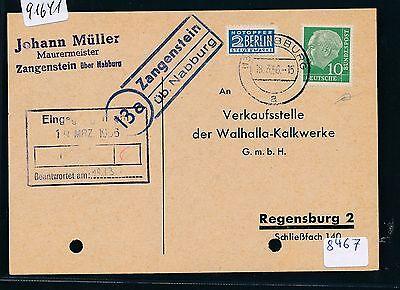 Fa.-karte 1956 Seien Sie Im Design Neu ZuverläSsig 91641 Brd Landpost Ra2 13a Zangenstein üb.nabburg