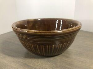 bowl dark brown mixing bowl antique stoneware dark brown crock bowl vintage U.S.A dark brown 9 bowl Antique brown stoneware bowl