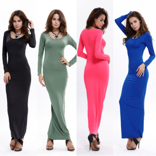 656bd9bf NEW WOMENS LADIES JERSEY PLAIN LONG SLEEVES FLARED STRETCHY MAXI ...