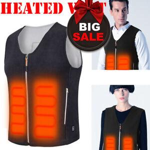 USB Electric Heated Warm Vest Men Women Thermal Jacket Rechargeable Heating Coat