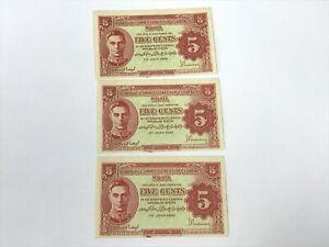 B0129 - Lot 3 pcs Malaya 5 Cents 1941 King George VI - AUNC