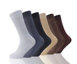 6 Paia Da Uomo 100/% Cotone Non Elastico Bigfoot Top Diabetic Socks