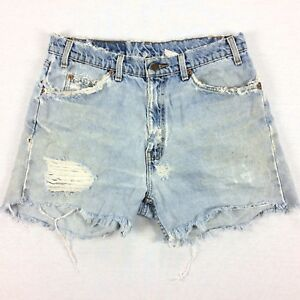 VTG-Distress-Trashed-Orange-Tab-LEVIs-Jean-Shorts-Sz-32-Cutoffs-Light-Wsh-Grunge