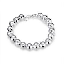 Deslumbrantes mujeres pulsera moda plata plateada 8mm bola brazalete cadena