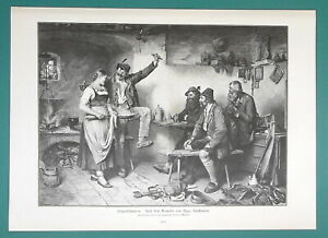 TYROL-PUB-Foresters-Enjoy-Hearty-Meal-amp-Girl-Servant-1892-Victorian-Era-Print