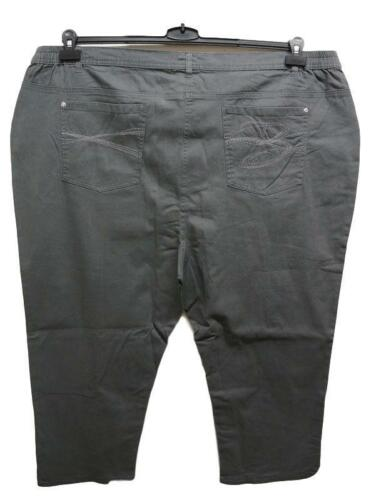 NEU Übergröße tolle Damen 3//4 Stretch Stoff Hose grau mit Stickerei Gr.56,58,62