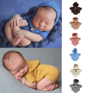 Newborn Baby Crochet Knit Costume Photography Photo Props Hooded Romper Outfits