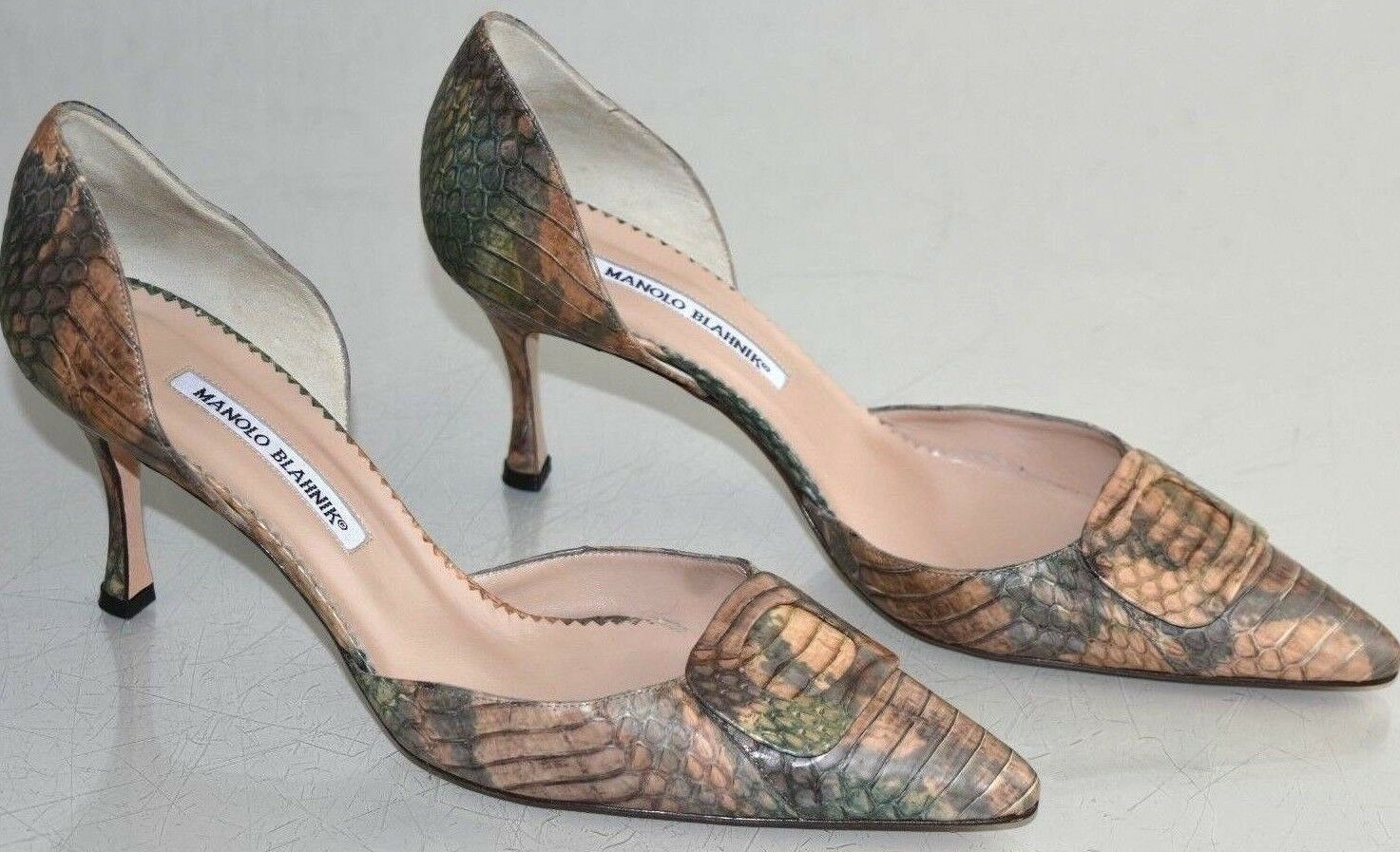 1290 NEW Manolo Blahnik EXOTIC PYTHON Pumps Dorsay Brown Green Taupe shoes 41.5