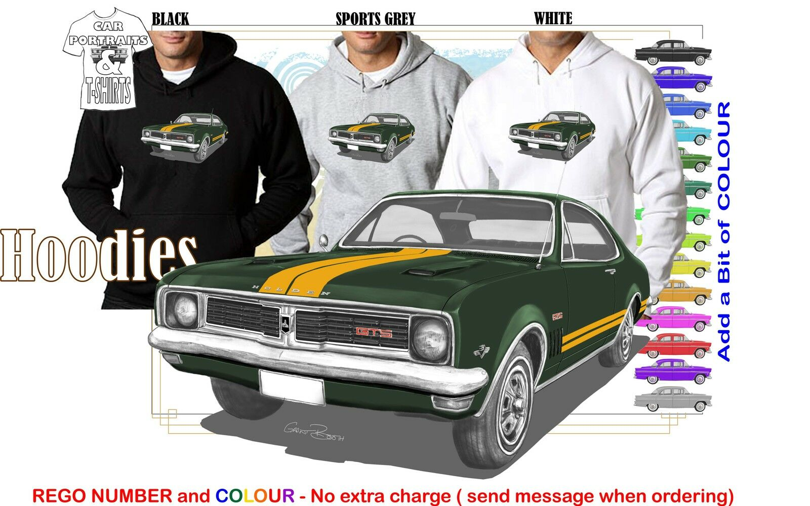 69-70 HT HOLDEN MONARO COUPE HOODIE ILLUSTRATED CLASSIC RETRO MUSCLE SPORTS CAR