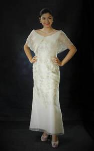 Filipiniana robe brodé Maria Clara Off-épaule Robe-Beige