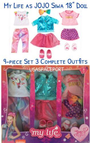 "9pc My Life as 18"" JOJO Siwa Doll Clothing WARDROBE SET Dance Pjs Unicorn Outfit"