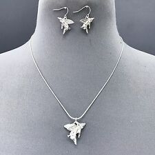 Silver Finished Flying Pig with Wing Sliding Pendant Necklace Earrings