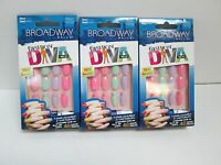 Broadway Fashion Diva Nails Pastel mishmash Glue On Nail Kit Bmfd02 - Lot Of 3