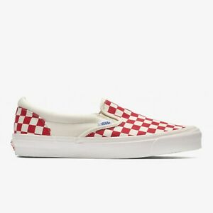 Details about Vans Vault OG Classic Slip-On White Red Checkerboard
