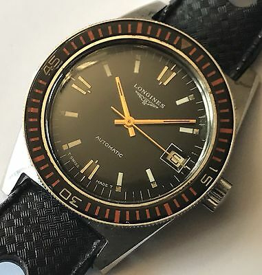 Rare Vintage 1970 LONGINES *8248* Skin Diver Mens Watch! Bakelite Bezel! Cal 505