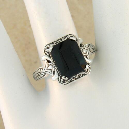 GENUINE BLACK AGATE ANTIQUE DESIGN 925 STERLING SILVER RING SIZE 10 #171