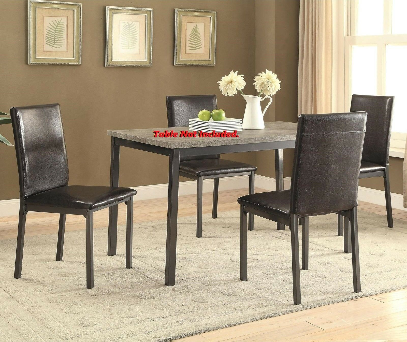 6pc Dining Chairs Coaster 100612 Dining Room Black Leatherette Chairs Metal Base For Sale Online