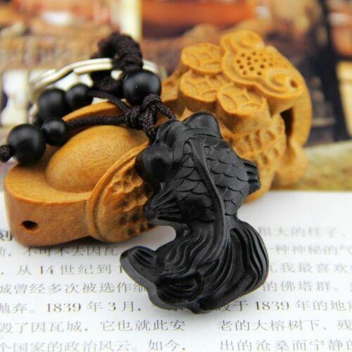 Ebony Wood Carving Chinese Goldfish Feng Shui Statue Key Chain Ring