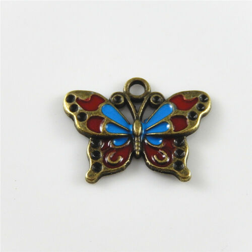 10 pcs Nice Enamel Plated Butterfly Charm Pendant Jewelry Making DIY Crafts
