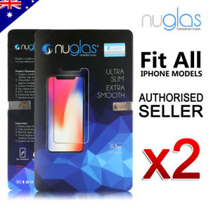 2xGENUINE-NUGLAS-Tempered-Glass-Screen-Protector-Apple-iPhone-XS-Max-XR-8-7-Plus