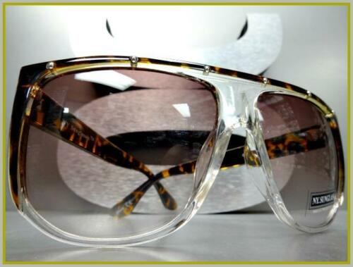OVERSIZE Vintage Retro Shield Style SUN GLASSES Large Tortoise Transparent Frame