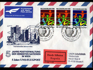 ENVELOPPE-Timbree-034-NATIONS-UNIES-034-Obliteration-postale-AVIATION-MOERS